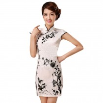 Elegant Slim Cheongsam Short Sleeve Cheongsam Qipao(Black Flowers,Large)