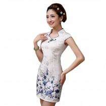 Elegant Slim Cheongsam Short Sleeve Cheongsam Qipao(Blue Flowers,Large)