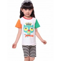 Funny Girls Pajama Set Owl Cotton Pajama, 4-5 Yrs