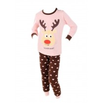 Pink Deer Pajama Top & Brown Pant for Girls, 5-6 Yrs