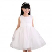 Elegant Girl's Tulle Princess Dress Lovely Party Dresses(White)