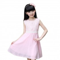 Elegant Girl's Princess Dress Girl's Sleeveless Sweet Dress (Pink)