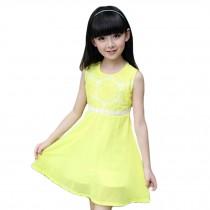 Elegant Girl's Princess Dress Girl's Sleeveless Sweet Dress (Yellow)