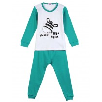 Little Donkey Lake Green Boys Pajama Set, 6-7 Yrs