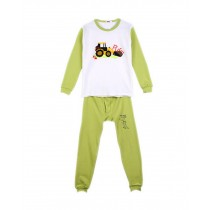 Ditching Machine Light Green Boys Pajama Set, 7-8 Yrs
