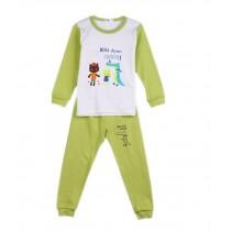 Crocodile & Frog Light Green Boys Pajama Set, 4-5 Yrs