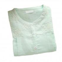 [Green Lace] Cotton Maternity Pajamas Set Nightwear Breastfeeding Pajamas
