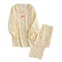 [Yellow Bowknot] Cotton Maternity Pajamas Set Nightwear Breastfeeding Pajamas