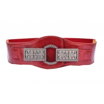 Retro Carved Buckle Waist Closure Belt Female Belt Waist Elastic Belts ,Red