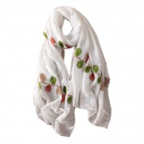 Lightweight Soft Scarf/Fashion Shawl for Lady/Embroidery Scarf,Leaves,Pure White