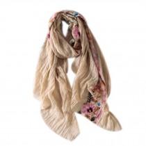 Fashion Shawl for Lady/Lightweight Soft Scarf/Embroidery Scarf,Floral,KHAKI