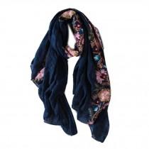 Fashion Shawl for Lady/Lightweight Soft Scarf/Embroidery Scarf,Floral,Royal Blue