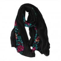 Fashion Shawl for Lady/Lightweight Soft Scarf/Embroidery Scarf,Floral, BLACK
