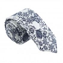 Formal/Casual Neckties Men Cotton Neckties Beige Blue Flower Neckties Skinny 6cm