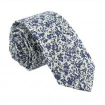Men Cotton Neckties Skinny Necktie Beige Blue Floral Formal/Casual Neckties 6cm