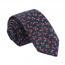 Men Cotton Neckties Dark Blue Floral Skinny Necktie Formal/Casual Neckties 6cm