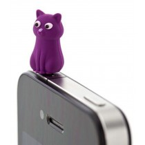 3 Pcs 3.5mm Cell Phone Universal Dust Plug Cartoon Ear Cap PURPLE Cat