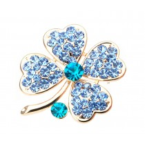 Women Gifts Fashion Four-leaf Clover Crystal Brooch Pin BLUE