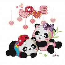 PANDA SUPERSTORE [Cartoon Pandas]DIY Cross-Stitch 14 CT Embroidery Kits Room Decor(16.9*16.9'')