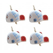 Set of 4 Cute Fish Wind Chimes Ceramic DIY Wind Bells Supplies