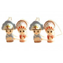 Set of 4 Chinese Ancient Couple Wind Chimes Porcelain Garden Bells