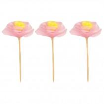 60 Pcs Disposable Cocktail Picks Party Supplies Dessert Shop Decor, Pink Flower
