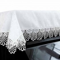 Dustproof Piano Cloth Piano Cover Lace Upright Piano Dust Cover White PianoTowel