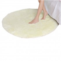 "Nonabrasive Round Chair Mat Beige Fuzzy Carpet 31*31"" Durable Chair Carpet"
