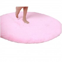 "Nonabrasive Round Chair Mats Pink Fuzzy Carpet 31*31"" Durable Chair Carpet"