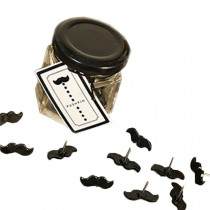24 PCS Moustache Pushpins With 2 Glass Jars/Creative Thumbtacks