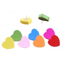 Creative Office Item/Woodiness Colorful Heart Pushpins/50 Piece/Random Color