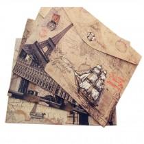 Set of 4 Retro Scenery Stiff Paper Pouch Magic Sticker File Pockets/File Folders