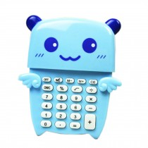 Creative Portable 8 Digitals Blue Little Bear Mini Solar Pocket Calculator