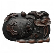 Delicate Lotus Engraved Ink Stone Chinese Calligraphy Supplies