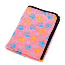 Super Soft Warm Washable Dog Cat Pet Bed Blanket-Pink Paw Print