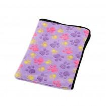 Super Soft Warm Washable Dog Cat Pet Bed Blanket-Purple Paw Print