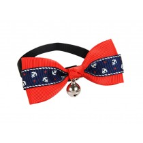 Cute Adjustable Bow Tie with Bell Pet Collar for Cats Dogs RED Sailor