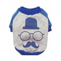 Hot Cartoon Puppy Apparel Pet Clothing Summer Dog Vest T-Shirt Blue Beard, L