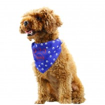 Cute Double Sided Cotton Pet Dog Cat Grooming Triangle Bandana BLUE, M