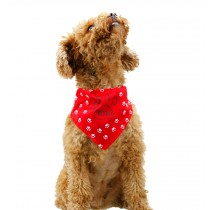 Cute Double Sided Cotton Pet Dog Cat Grooming Triangle Bandana RED, M