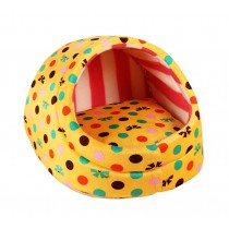 Yellow Polka Dot Puppy Bed Small Egg-Shaped Cat & Dog House
