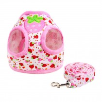 Cartoon Fruit Strawberry Pattern Dogs Leash Pet harness Supplies, M Size