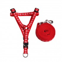 Red Step Pattern Pets Supplies Cute Cartoon Dogs Leash Collar, Size M