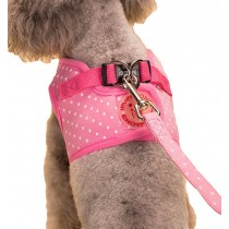 Vest Leashes - Dog Harness Leash--??L Size: Bust 46cm??Pink Dot