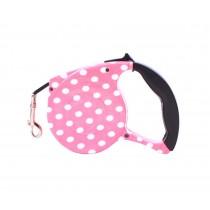 Pink Dots, Strong Durable Retractable Hard-wearing Pet Leash, 5M