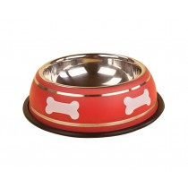 Cute Bones Dog Bowl Stainless Steel Style Pet Bowl RED