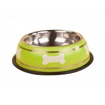 Cute Bones Dog Bowl Stainless Steel Style Pet Bowl GREEN