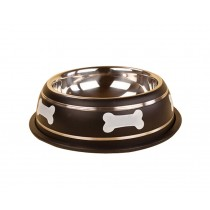 Cute Bones Dog Bowl Stainless Steel Style Pet Bowl BLACK