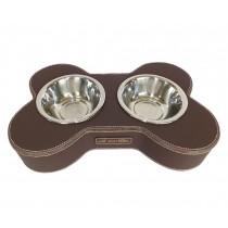 Fashion Animal Dog Dishes Bowl Stainless Steel Pet Double Bowl COFFEE