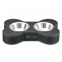 Fashion Animal Dog Dishes Bowl Stainless Steel Pet Double Bowl BLACK